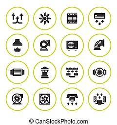 ventilation, ensemble, conditionnement, rond, icônes