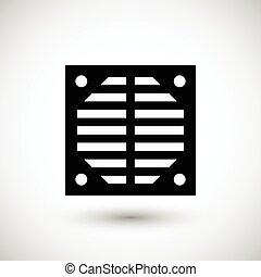 ventilation, grille, icône