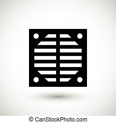 Ventilation grille icon isolated on grey. Vector...