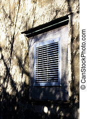 Ventilation Grille on derelict building wall awaiting...