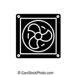 ventilation icon, vector illustration, black sign on isolated background
