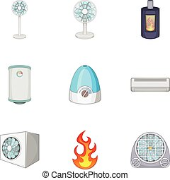 Ventilation icons set, cartoon style