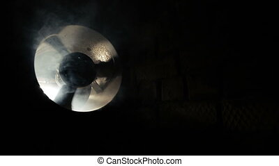 Ventilation in smoke on a black background
