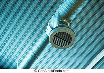 ventilation, industriel, système, canaux transmission