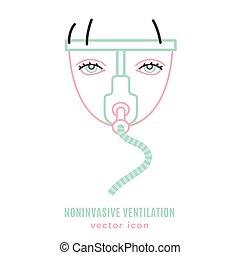 ventilation, noninvasive, poumon, icône