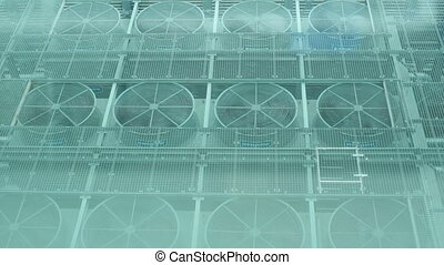 Ventilation of a large building - Exhaust vents of...