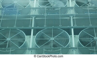 Ventilation on a roof - Exhaust vents of industrial air...