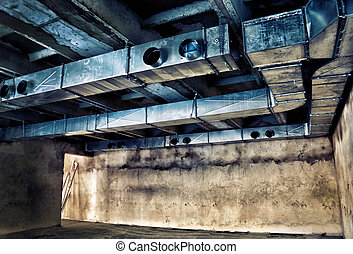 Ventilation pipes and air ducts in the old building