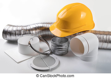 ventilation system equipment and helmet on white background