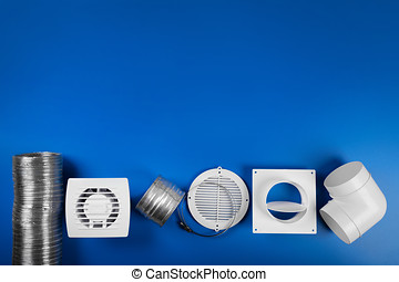 ventilation system equipment on blue background with copy space. top view