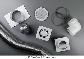 ventilation system equipment on gray background. top view