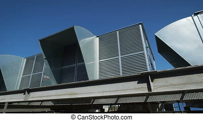Ventilation system on the roof of an industrial building....