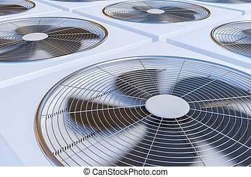 ventilation, unités, hvac, (heating, illustration, rendu, 3d