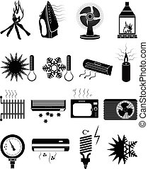 ventilation vector icons set