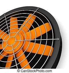 Ventilator - 3d ventilator with orange blades isolated on...