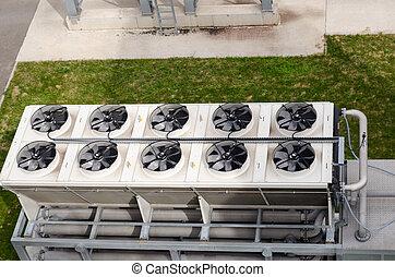 Ventilator fan spin on building biogas plant