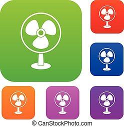 Ventilator set collection - Ventilator set icon in different...