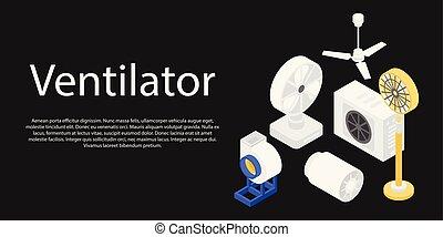 Ventilator set concept banner, isometric style