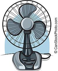 ventilator, stellen anhänger zurück