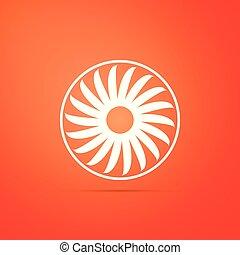 Ventilator symbol icon isolated on orange background. Ventilation sign. Flat design. Vector Illustration
