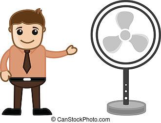 ventilator, tafel, verkoper, het voorstellen