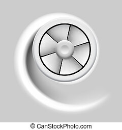 Ventilator. - Electric fan with motion effect on gray...
