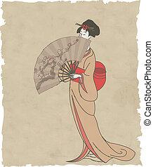 ventilatore, ragazza, carta, vecchio, giapponese