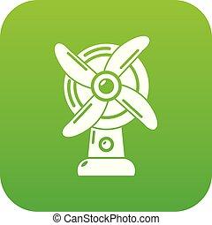 ventilatore, vettore, verde, icona
