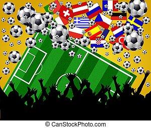 ventilatoren, voetbal, achtergrond, europeaan