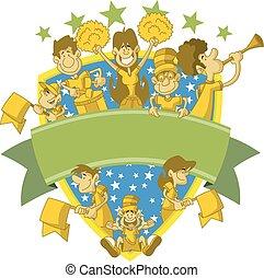 ventilatori, sport, gruppo, cartone animato