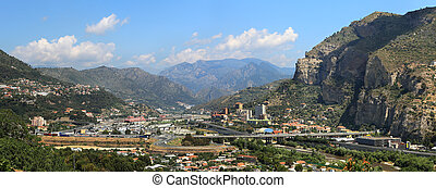 Ventimiglia panoramic view. Liguria, Italy. - Panoramic view...