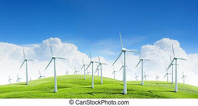 vento, branca, modernos, turbinas