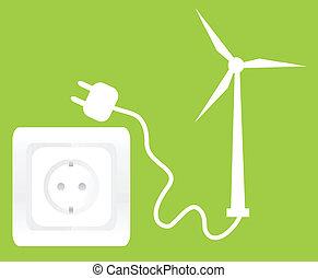 vento, conceito, ecologia, tomada, gerador
