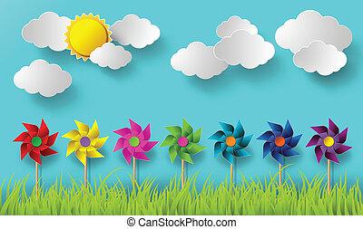 vento, days., nublado, soprando, ilustração, moinhos
