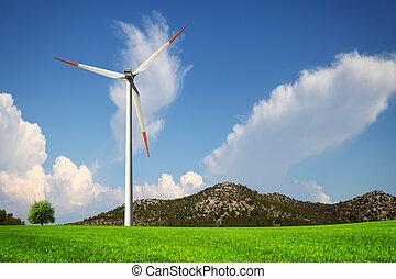 vento, e, verde, natureza