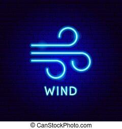 vento, etiqueta, néon