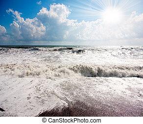 vento forte, spiaggia
