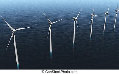 vento, generatori, su, il, mare