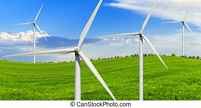 vento, geradores, prado verde, poder