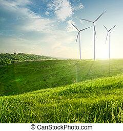 vento, geradores, turbinas, ligado, pôr do sol, verão,...
