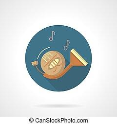 vento, instruments., chifre francês, redondo, vetorial, ícone