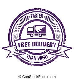 vento, mais rápido, grunge, do que, selo, entrega