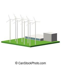 vento, planta, isolado, poder