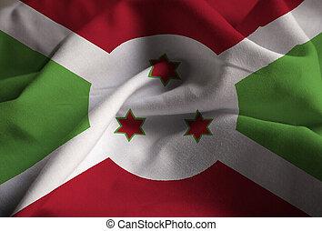 vento, soffiando, burundi, arruffato, bandiera