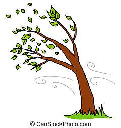 vento, soprando, folhas, desligado, árvore