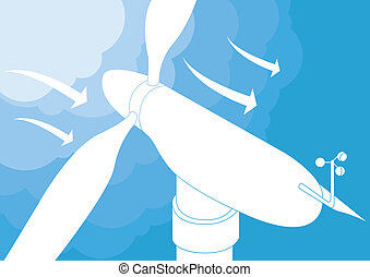 vento, vetorial, gerador, fundo