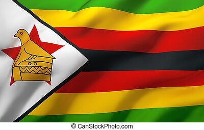 vento, zimbabwe, soffiando, bandiera
