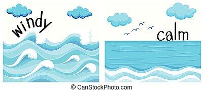 ventoso, adjectives, calma, opposto