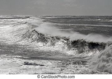 ventoso, explosão, mar, ondas