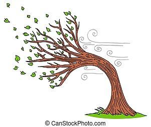 ventoso, soprando, dia árvore, vento